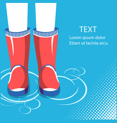 rain backgroundhuman legs in red rubber boots vector image vector image