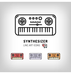 Synthesizer isolated line art icon Modern vector image vector image