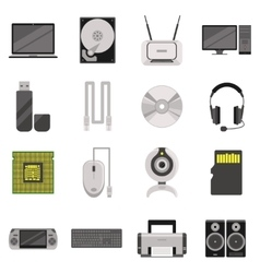 Computer Components And Accessories Icon Set vector image