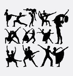 Couple ballet dancer silhouette vector image vector image