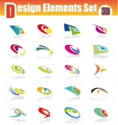 3d design elements set vector image