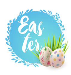 blue easter card with eggs vector image