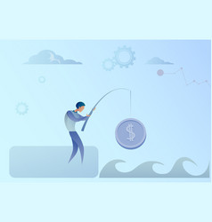 Business man fishing money coin strategy success vector