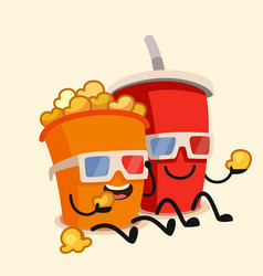funny cinema popcorn bucket and soda vector image