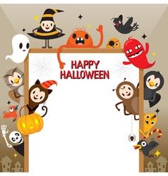 Halloween Cartoon Character On Frame vector image vector image