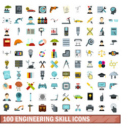100 engineering skill icons set flat style vector