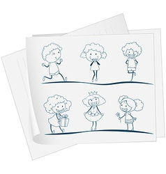 A paper with a drawing of a girl in different vector image