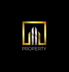 abstract modern gold silver property logo vector image