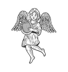 angel with lyre sketch vector image