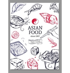 Asian Cuisine Sketch Poster vector