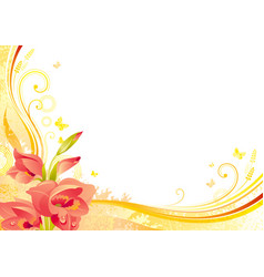 Autumn background with gladiolus flower falling vector