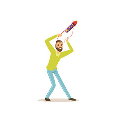 Bearded man launches firework rocket for birthday vector