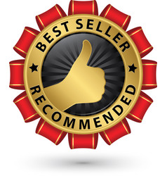 best seller recommended golden label vector image