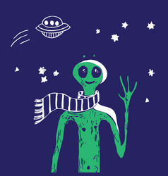 blue space ufo alien stars green people poster vector image