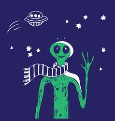 Blue space ufo alien stars green people poster vector