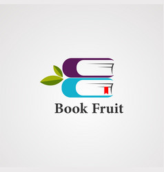 book fruit with organic leaf logo icon element vector image
