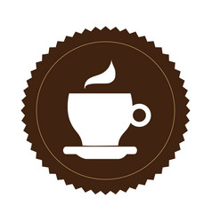 brown seal sticker with silhouette coffee cup vector image