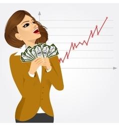 businesswoman enjoying money vector image