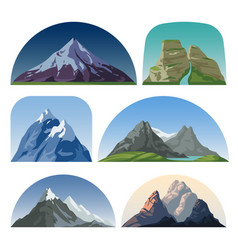 Cartoon mountain side landscapes outdoor vector