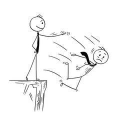Cartoon of businessman pushing competitor from vector