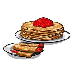 Caviar pancakes vector