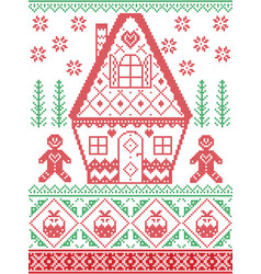 Christmas pattern with gingerbread man house vector