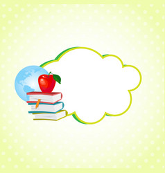 Cloud sticker decorated with school supplies icon vector