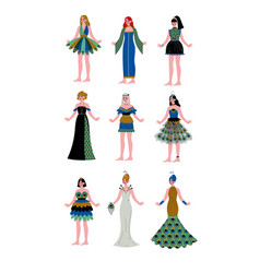 collection of beautiful girls wearing elegant vector image