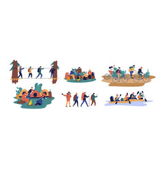 Collection of men and women travelling together vector