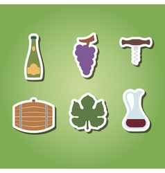 color icons with symbols of wine making vector image