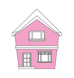color silhouette cartoon pink facade irregular vector image