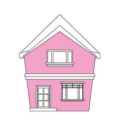 Color silhouette cartoon pink facade irregular vector