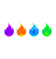 Colorful fireball set isolated on white vector