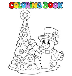 coloring book christmas thematics 1 vector image