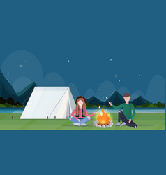 Couple hikers roasting marshmallow candies on vector