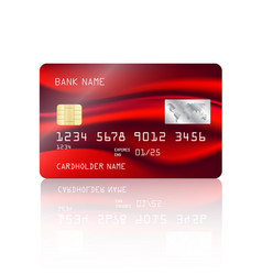 credit card with abstract colorful red mesh vector image