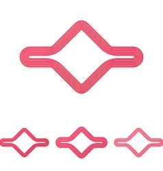 Crimson line abstract logo design set vector