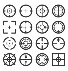 crosshair icons set on white backgound vector image