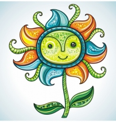 Cute friendly eco flower 3 vector