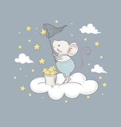cute little mouse on cloud vector image