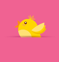 cute yellow chicken on pink background easter vector image