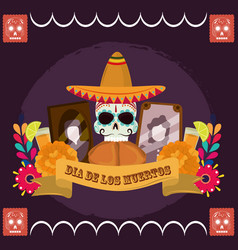 day dead skull with hat bread photos frame vector image