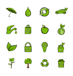 eco icons set cartoon vector image