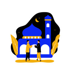 Eid mubarak with two men hand shake front vector
