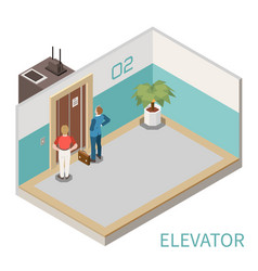 elevator isometric composition vector image