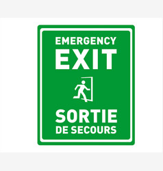 Emergency exit sign in english and french vector