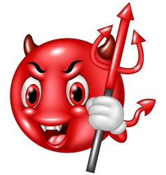 Emoticon Halloween character Devil with Trident vector image