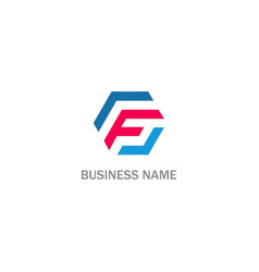 F polygon company business logo vector