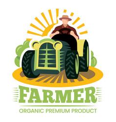 Farm and farmer organic product premium label vector