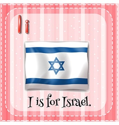 Flashcard letter I is for Israel vector image